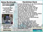 Danksagung Heinz Burkhardt
