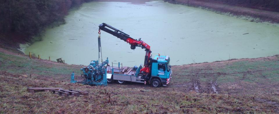 Geotechnische Untersuchungsbohrungen am Hochwasserrückhaltebecken Beibach / Bemberg