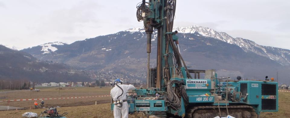 Bohrung zur Abfallcharakterisierung, Mothey, Schweiz